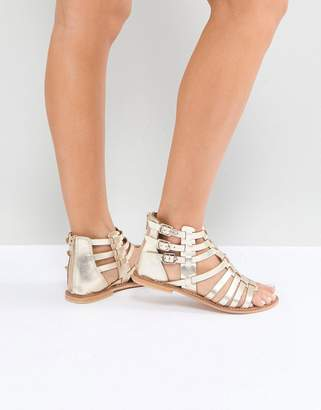 Asos DESIGN FOZ Leather Gladiator Flat Sandals