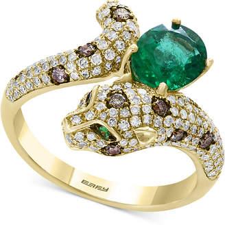 Effy Signature by Multi-Gemstone (1-1/6 ct. t.w.) & Diamond (5/8 ct. t.w.) Leopard Ring in 14k Gold