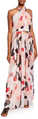 Fuzzi Halter Leaf-Print Backless Gown