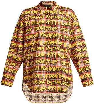 MSGM Graffiti check cotton shirt
