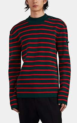 Calvin Klein Men's Button-Shoulder Striped Wool Sweater - Green