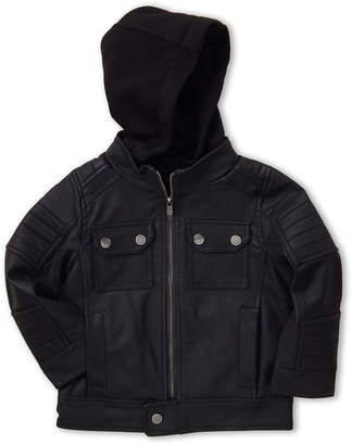 Urban Republic Toddler Boys) Hooded Faux Leather Jacket