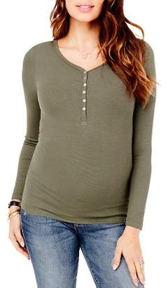 Ingrid & Isabel Maternity Ribbed Henley Top