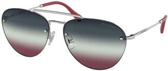 Miu Miu Rimless Mirrored Aviator Sunglasses