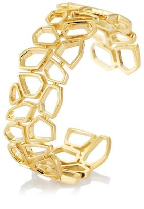 Breuning Yellow Gold Plated Sterling Silver Geometric Cutout Cuff Bracelet