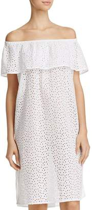 Echo Off-the-Shoulder Eyelet Dress Swim Cover-Up