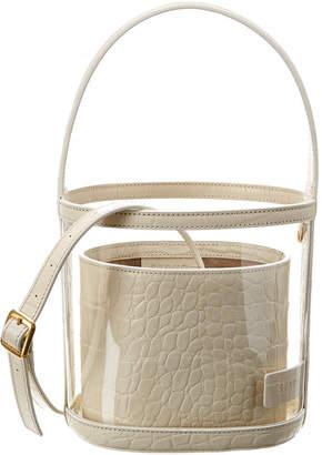 STAUD Bisset Medium Croc-Embossed Leather Bucket Bag