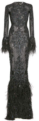 ZUHAIR MURAD Beaded And Feather-Trimmed Silk Gown Size: 36