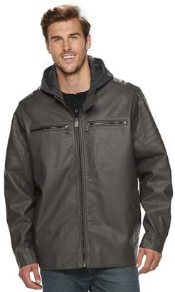 Urban Republic Big & Tall Hooded Faux-Leather Jacket