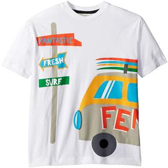 Fendi Short Sleeve Logo Surf Van Graphic T-Shirt Boy's T Shirt