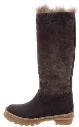 Brunello Cucinelli Fur-Trimmed Knee-High Boots