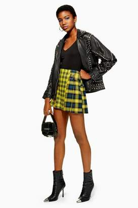Topshop Petite Mix Check Buckle Kilt Mini Skirt