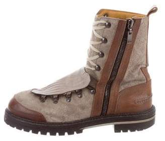 Lanvin Lizard Trim Hiking Boots