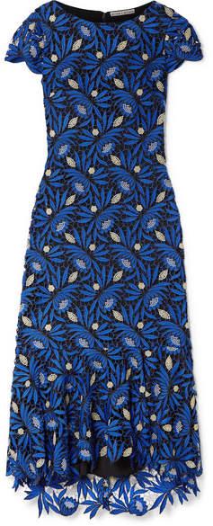 Alice + Olivia Alice Olivia - Cleora Ruffled Metallic Guipure Lace Midi Dress - Bright blue