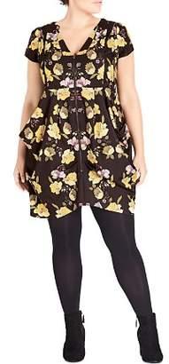 City Chic Plus Nouveau Floral Zip-Front Dress