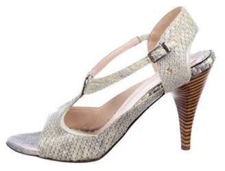 Nicholas Kirkwood Round-Toe Snakeskin Sandals Green Round-Toe Snakeskin Sandals