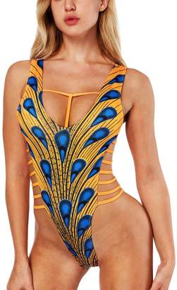 FEOYA Womens Sexy One Piece Swimsuit Bikini Cut Out Monokini Bandage Beachwear Size XL - Feather