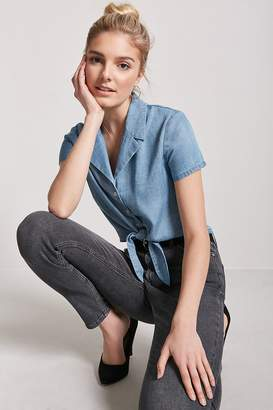 Forever 21 Chambray Self-Tie Shirt
