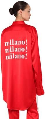 MSGM Oversized Milano Print Satin Shirt