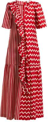 Stella Mccartney - Gabrielle Zigzag Print Maxi Dress - Womens - Red White