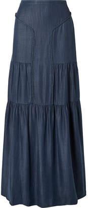 Rachel Zoe Paige Tiered Chambray Maxi Skirt - Dark denim