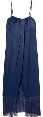 Rachel Zoe Brighton Fringe-Trimmed Draped Satin-Crepe Midi Dress