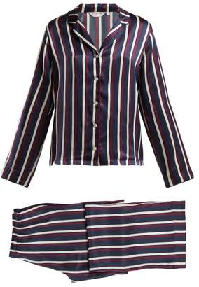 Derek Rose Brindisi Striped Silk Pyjamas - Womens - Red Navy
