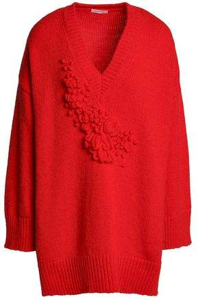 Bouclé-Trimmed Alpaca-Blend Sweater