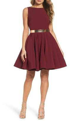Mac Duggal IEENA FOR Belted Fit & Flare Dress
