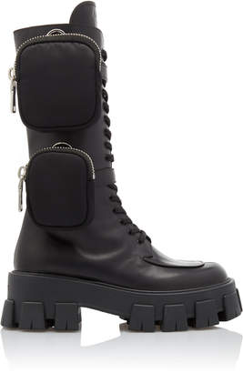 Prada Leather Platform Combat Boots