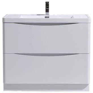 MORENOBATH Moreno Bath Smile 36 Free Standing Modern Bathroom Vanity with 2 Drawers and Reinforced Acrylic Sink