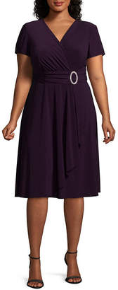 R & M Richards Short Sleeve Evening Gown - Plus