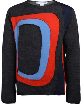 Comme des Garcons Grey Sweater With Multicolor Inserts