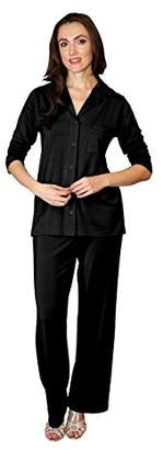 Shadowline Women's Plus Size Pajama Set-Notched Collar Top and Pj Pants