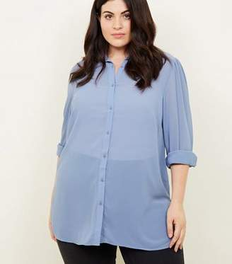 New Look Curves Blue Crepe Longline Shirt