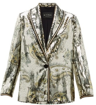 Etro Cheshire Paisley Sequin Blazer - Womens - Gold