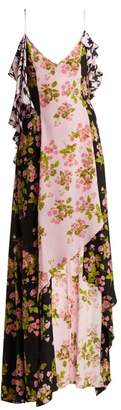 Natasha Zinko Floral Houndstooth Asymmetric Slip Dress - Womens - Black Pink