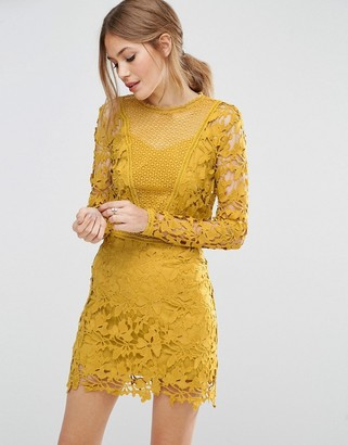 ASOS Mustard Lace Long Sleeve Paneled Shift Dress $113 thestylecure.com