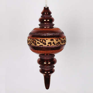 Asstd National Brand Diva Safari Cheetah Print & Stripes Copper and Coffee Commercial Size Christmas Finial Ornament 13