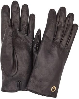Fendi leather logo gloves
