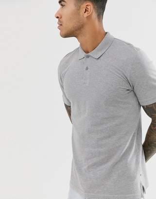 Jack and Jones Essentials slim fit pique logo polo in grey
