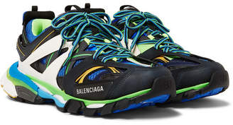 Balenciaga Track Nylon, Mesh And Rubber Sneakers - Black