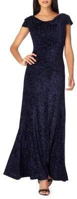 Tahari Arthur S. Levine Cowlneck Burnout Velvet Fit-&-Flare Gown