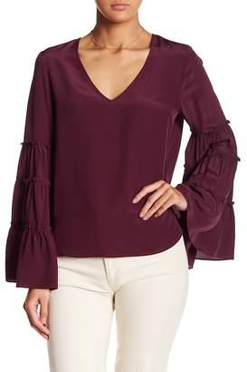 Fifteen-Twenty Fifteen Twenty Ruffled Bell Sleeve Silk Top