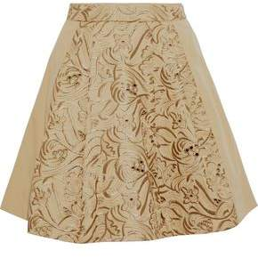 Roberto Cavalli Metallic Embroidered Cotton Mini Skirt