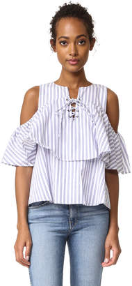 J.O.A. Lace Up Stripe Blouse $65 thestylecure.com