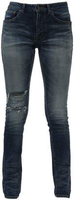 Saint Laurent Ripped And Faded Skinny Jeans