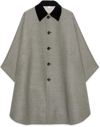 Gucci Houndstooth wool cape