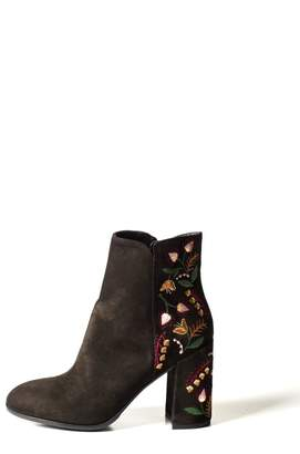 Lady Doc Suede-Embroidered Heeled-Boot