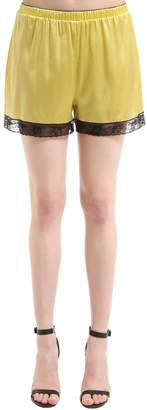 Dolce & Gabbana Silk Satin Lingerie Shorts With Lace